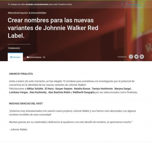 "Finalist Creative Invite ""Create names  for new Johnnie Walker  Red Label variants"""